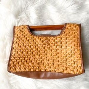 Woven Straw Square Wooden Handle Clutch Bag Strap